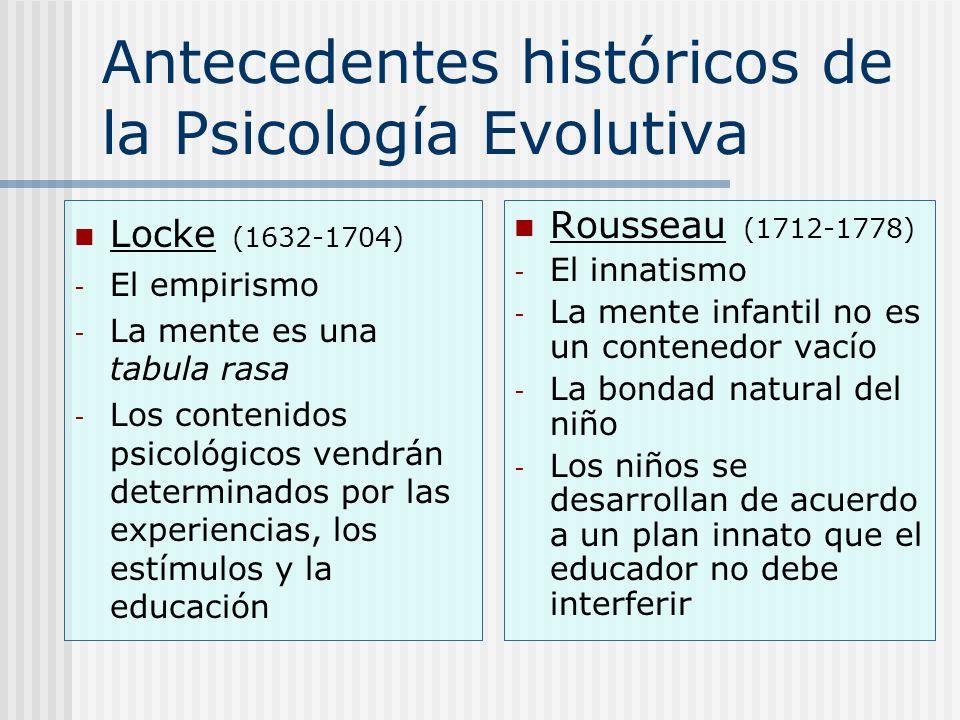 Antecedentes históricos de la Psicología Evolutiva