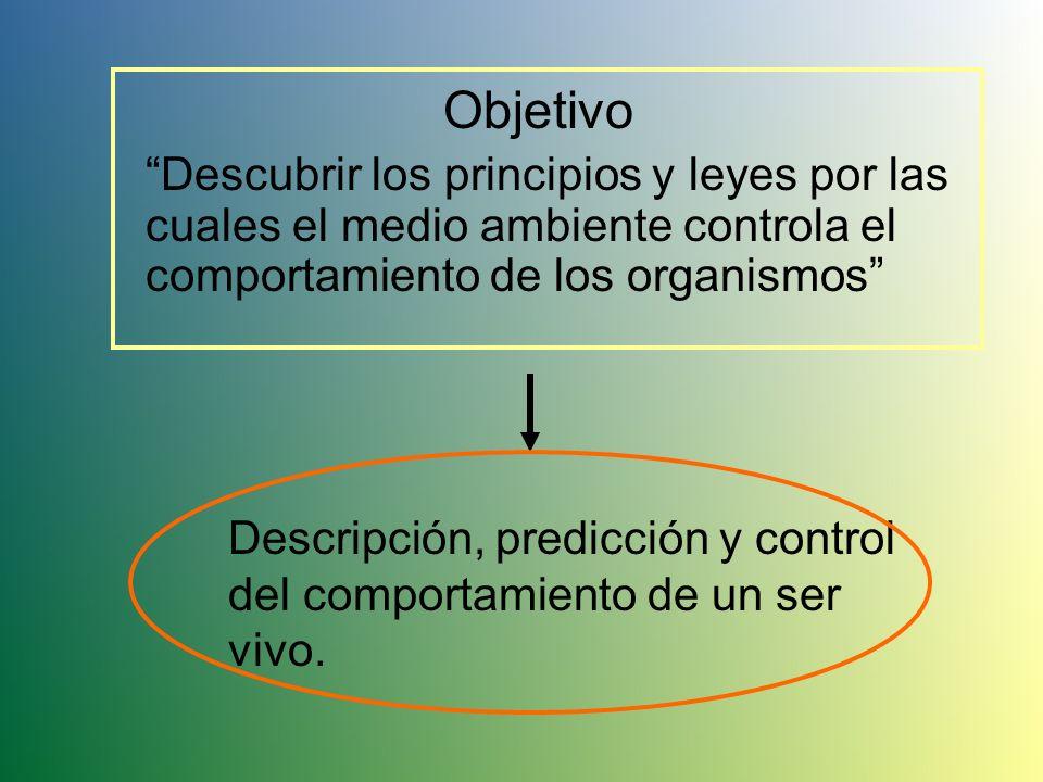 Objetivo Descubrir los principios y leyes por las cuales el medio ambiente controla el comportamiento de los organismos