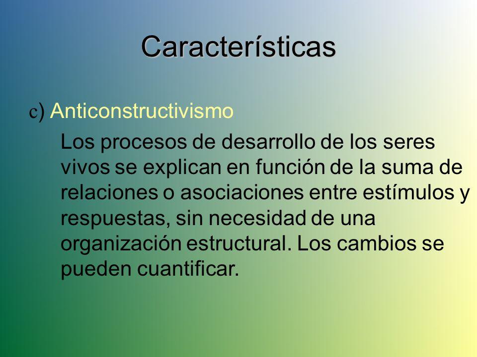 Características c) Anticonstructivismo