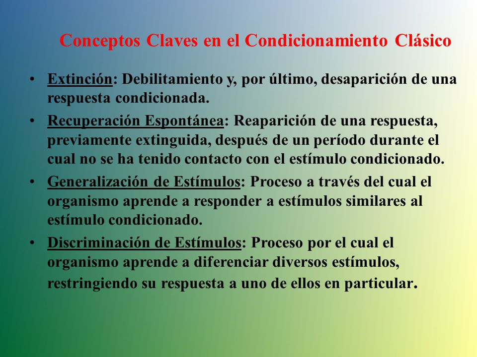 Conceptos Claves en el Condicionamiento Clásico