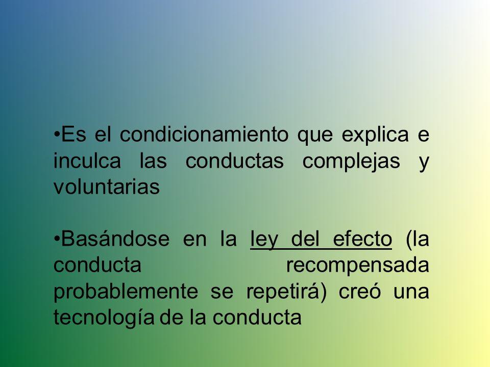 Es el condicionamiento que explica e inculca las conductas complejas y voluntarias