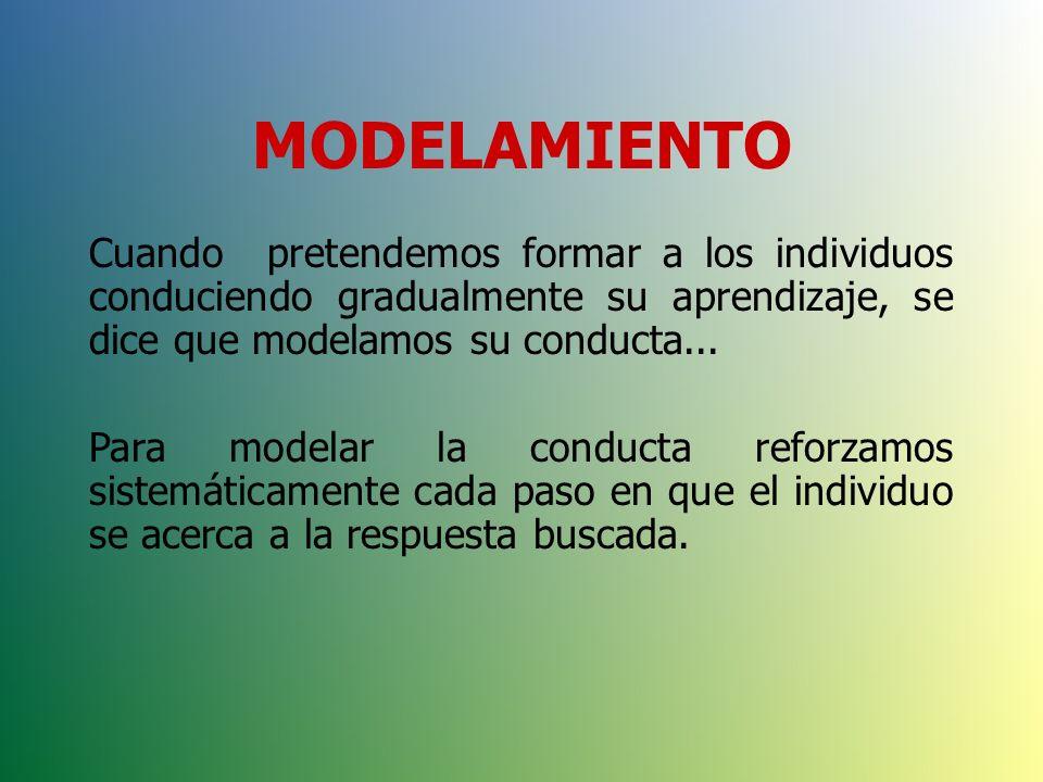 MODELAMIENTO Cuando pretendemos formar a los individuos conduciendo gradualmente su aprendizaje, se dice que modelamos su conducta...