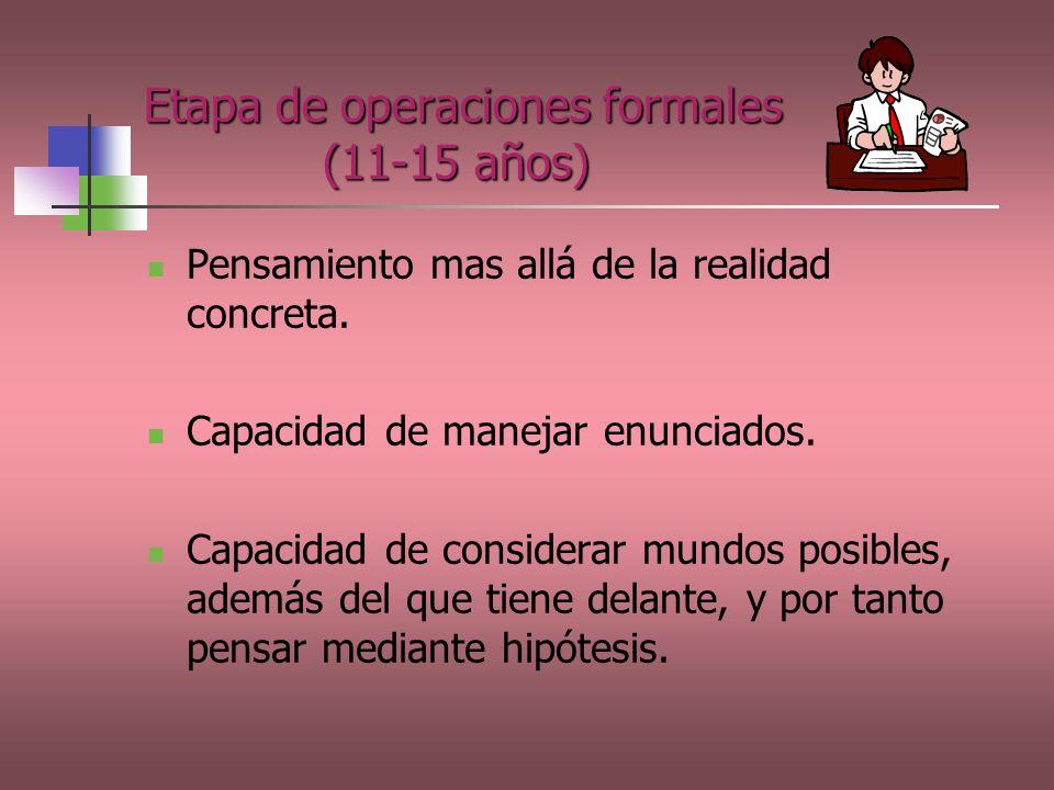 Etapa de operaciones formales (11-15 años)
