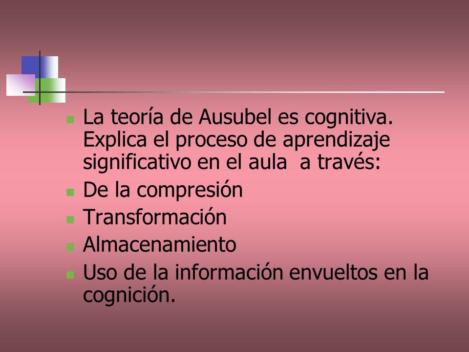 La teoría de Ausubel es cognitiva