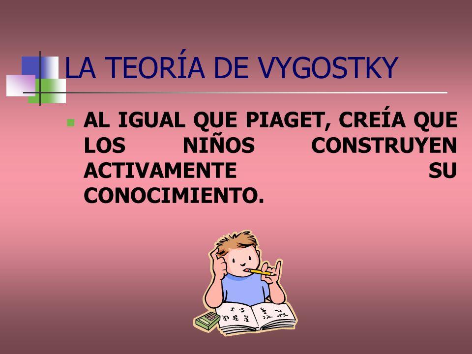 LA TEORÍA DE VYGOSTKY AL IGUAL QUE PIAGET, CREÍA QUE LOS NIÑOS CONSTRUYEN ACTIVAMENTE SU CONOCIMIENTO.