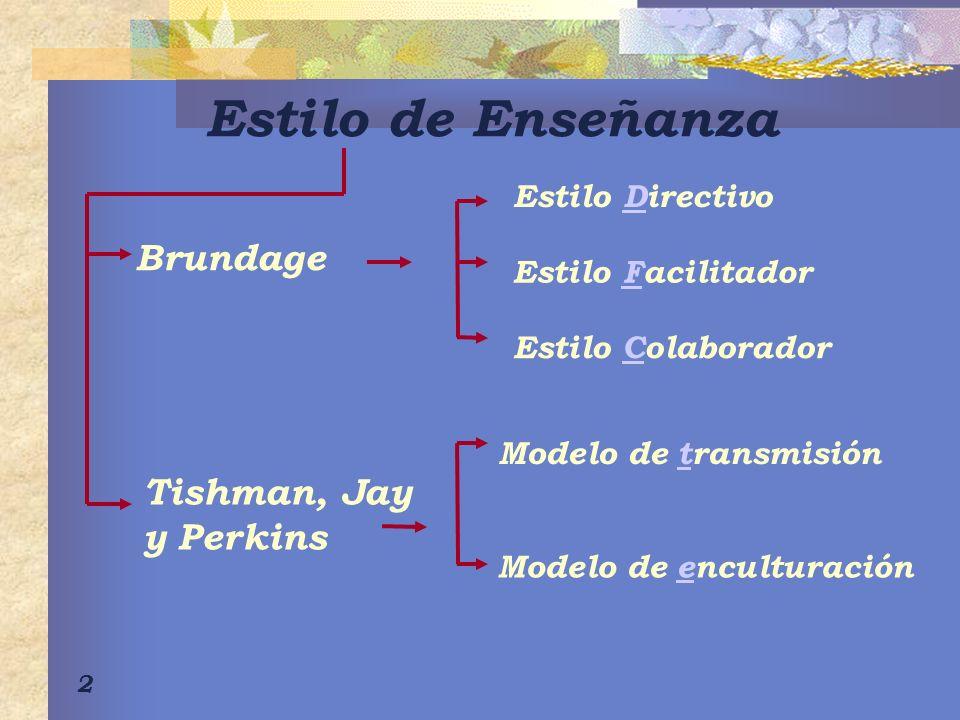 Estilo de Enseñanza Brundage Tishman, Jay y Perkins Estilo Directivo