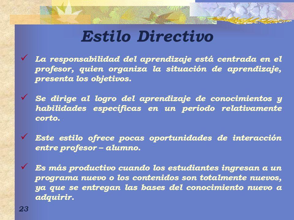 Estilo Directivo La responsabilidad del aprendizaje está centrada en el profesor, quien organiza la situación de aprendizaje, presenta los objetivos.