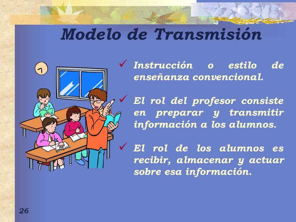 Modelo de Transmisión Instrucción o estilo de enseñanza convencional.
