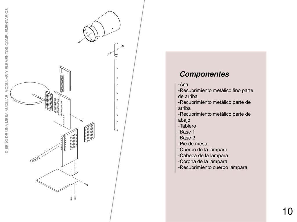 Dise o de una mesa auxiliar modular y elementos for Partes de una mesa