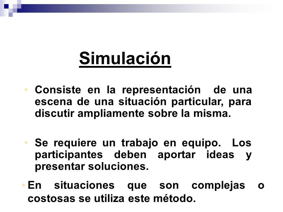 Simulación Consiste en la representación de una escena de una situación particular, para discutir ampliamente sobre la misma.