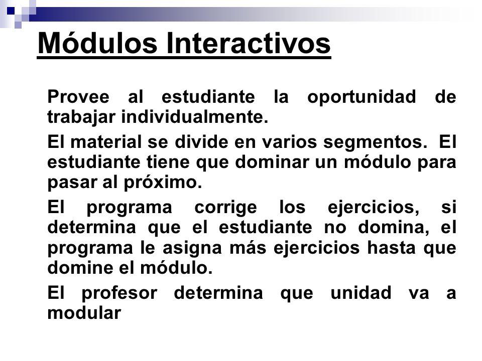Módulos Interactivos Provee al estudiante la oportunidad de trabajar individualmente.