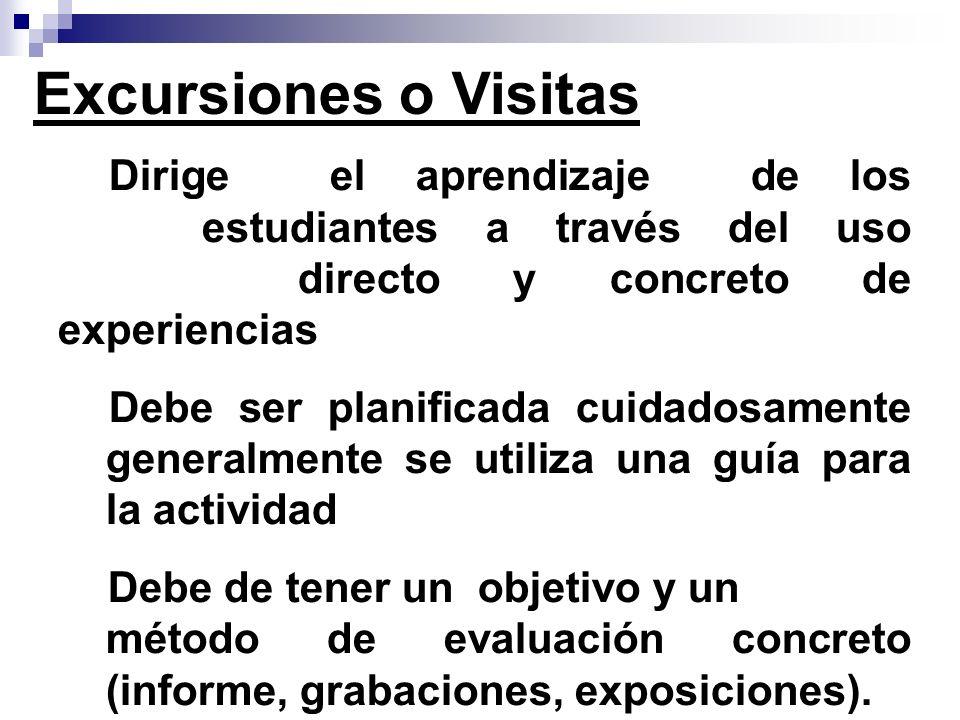Excursiones o Visitas Dirige el aprendizaje de los estudiantes a través del uso directo y concreto de experiencias.