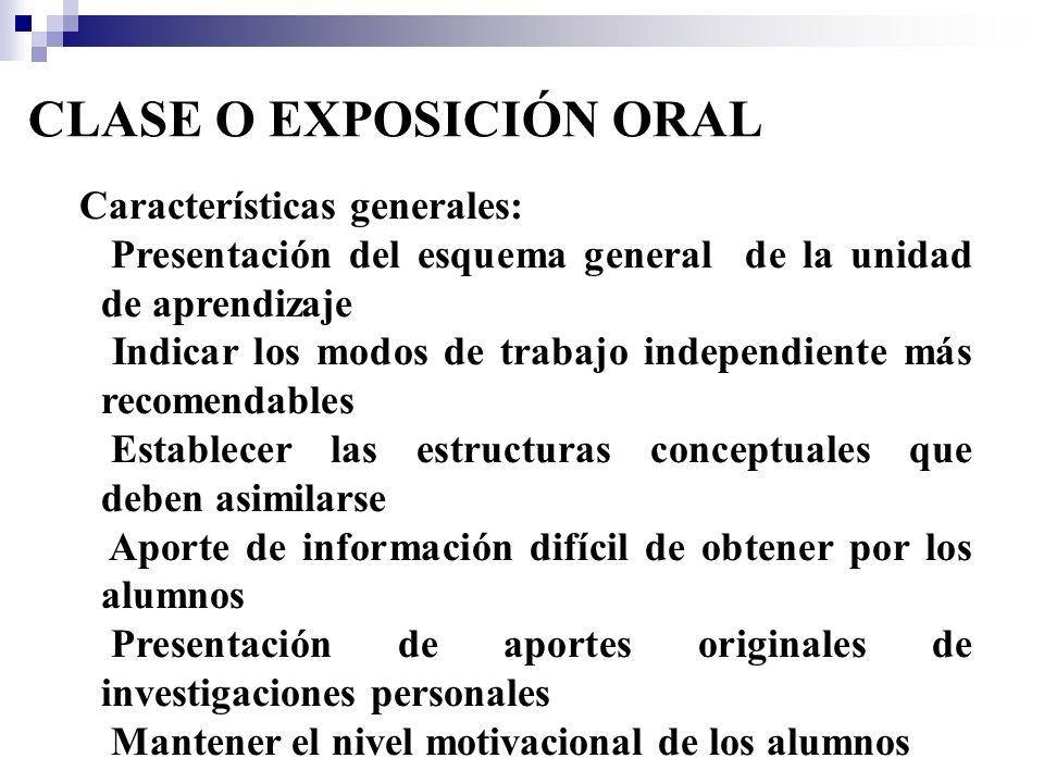 CLASE O EXPOSICIÓN ORAL