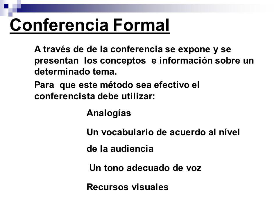 Conferencia Formal A través de de la conferencia se expone y se presentan los conceptos e información sobre un determinado tema.