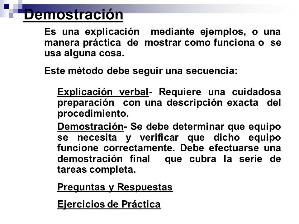 Demostración Es una explicación mediante ejemplos, o una manera práctica de mostrar como funciona o se usa alguna cosa.