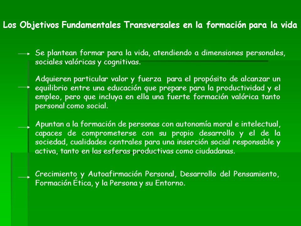 Los Objetivos Fundamentales Transversales en la formación para la vida