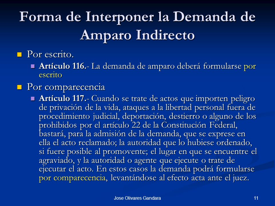 Forma de Interponer la Demanda de Amparo Indirecto