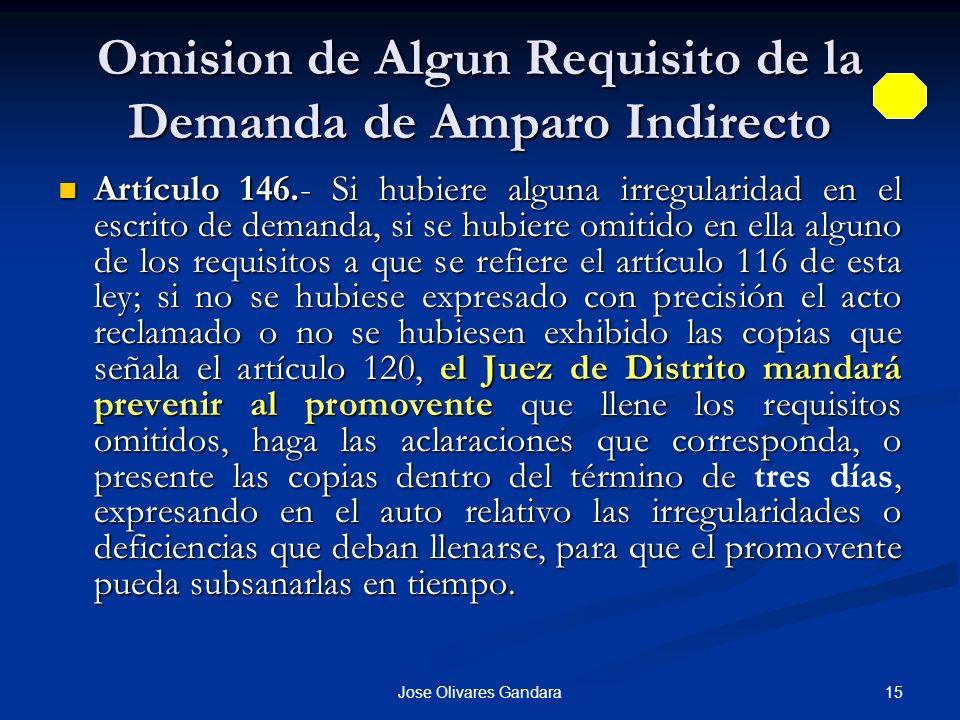 Omision de Algun Requisito de la Demanda de Amparo Indirecto