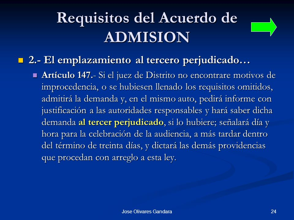 Requisitos del Acuerdo de ADMISION