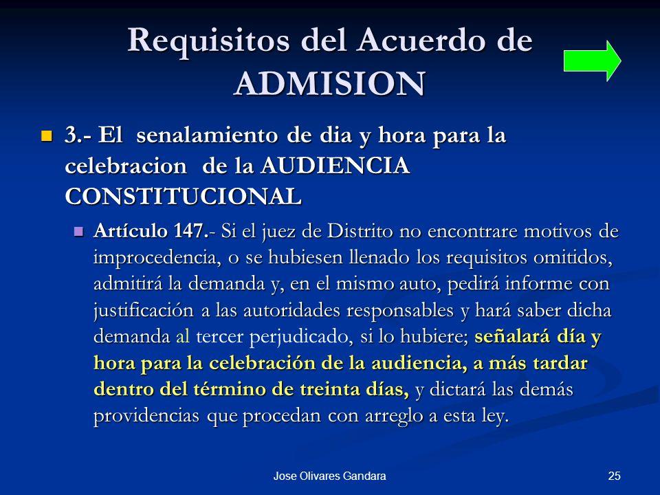 Requisitos del Acuerdo de ADMISION