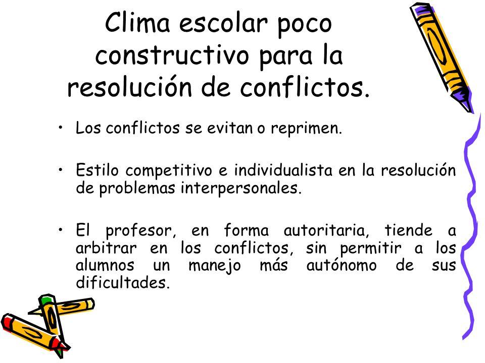Clima escolar poco constructivo para la resolución de conflictos.