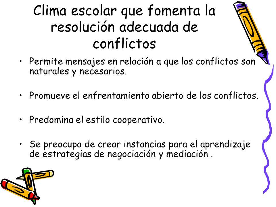 Clima escolar que fomenta la resolución adecuada de conflictos