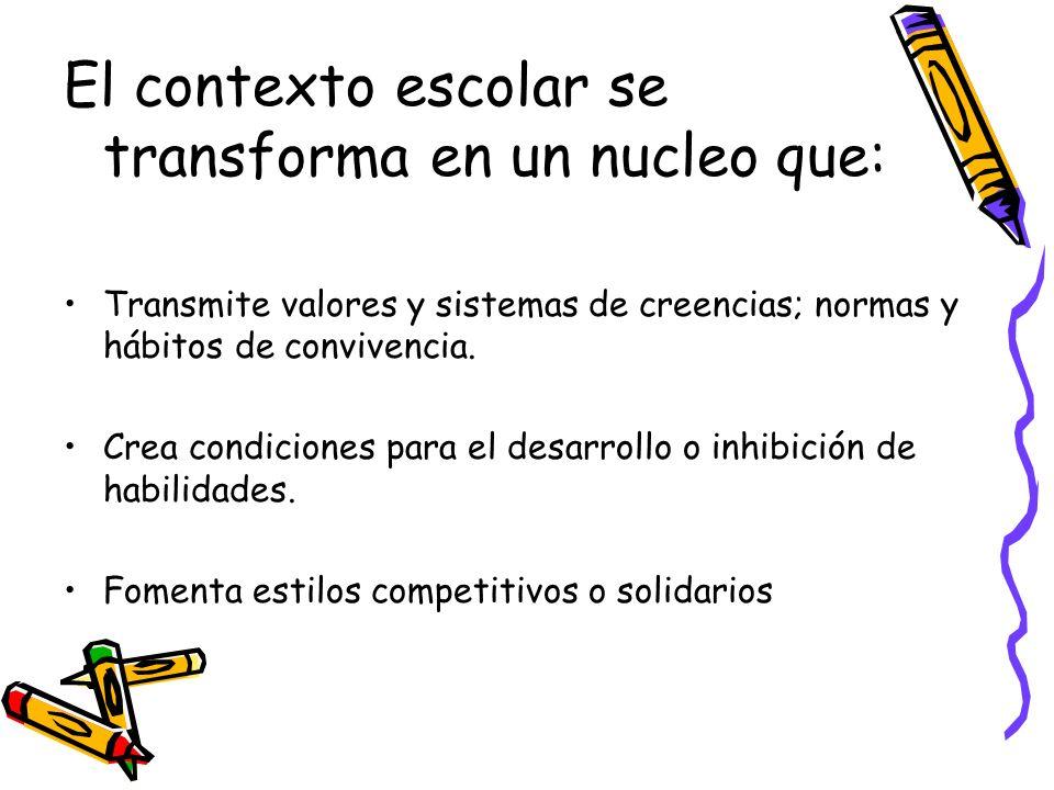 El contexto escolar se transforma en un nucleo que: