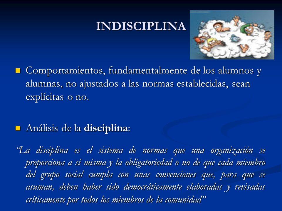 INDISCIPLINA Comportamientos, fundamentalmente de los alumnos y alumnas, no ajustados a las normas establecidas, sean explícitas o no.