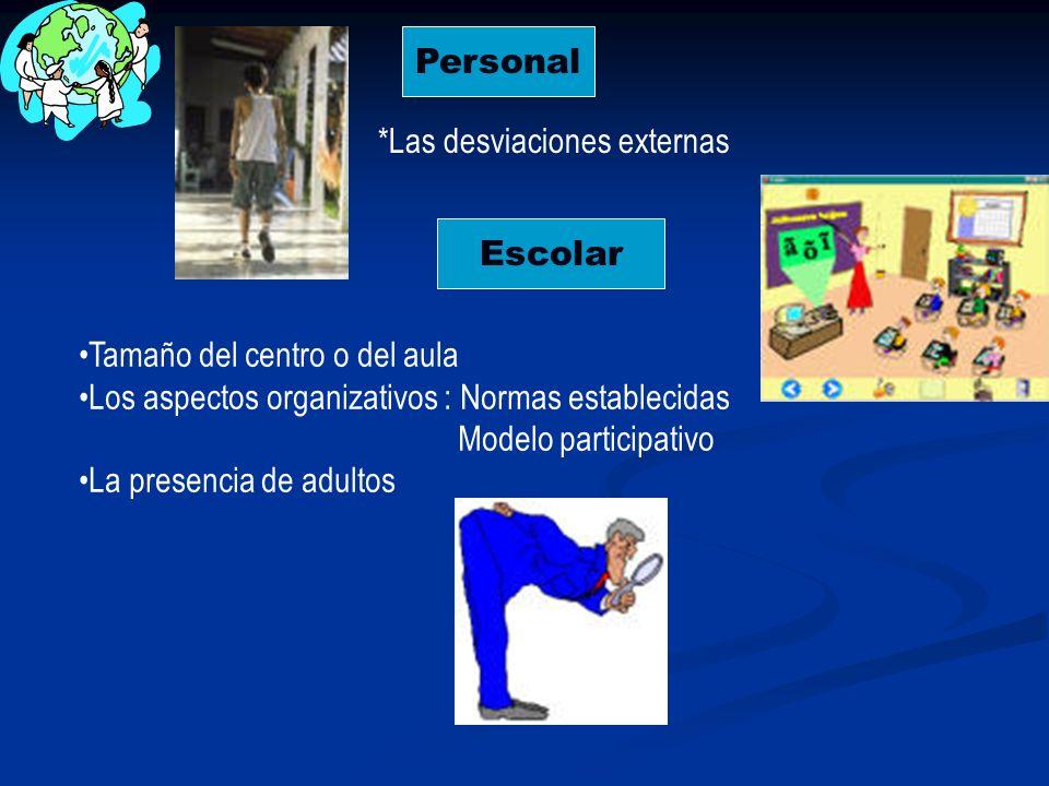 Personal *Las desviaciones externas. Escolar. Tamaño del centro o del aula. Los aspectos organizativos : Normas establecidas.