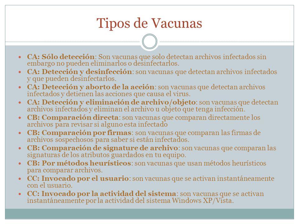 Tipos de Vacunas CA: Sólo detección: Son vacunas que solo detectan archivos infectados sin embargo no pueden eliminarlos o desinfectarlos.