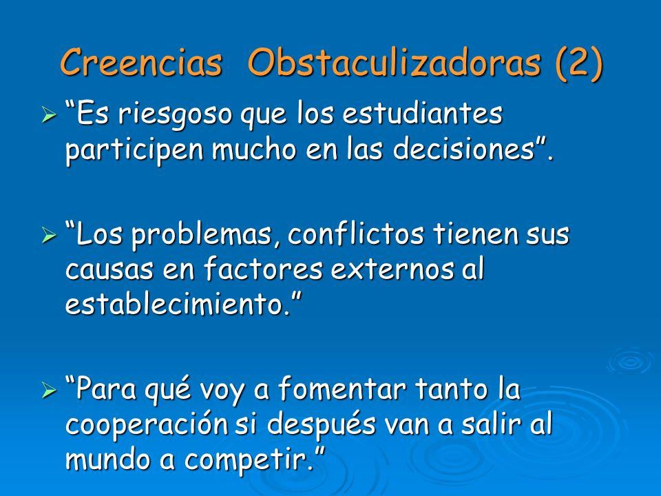 Creencias Obstaculizadoras (2)
