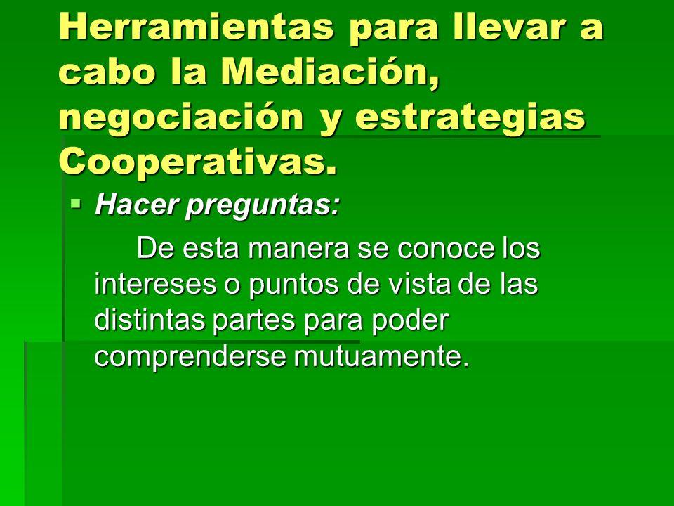 Herramientas para llevar a cabo la Mediación, negociación y estrategias Cooperativas.