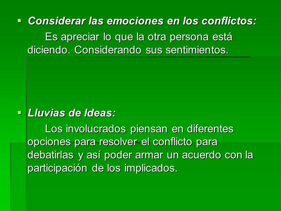 Considerar las emociones en los conflictos: