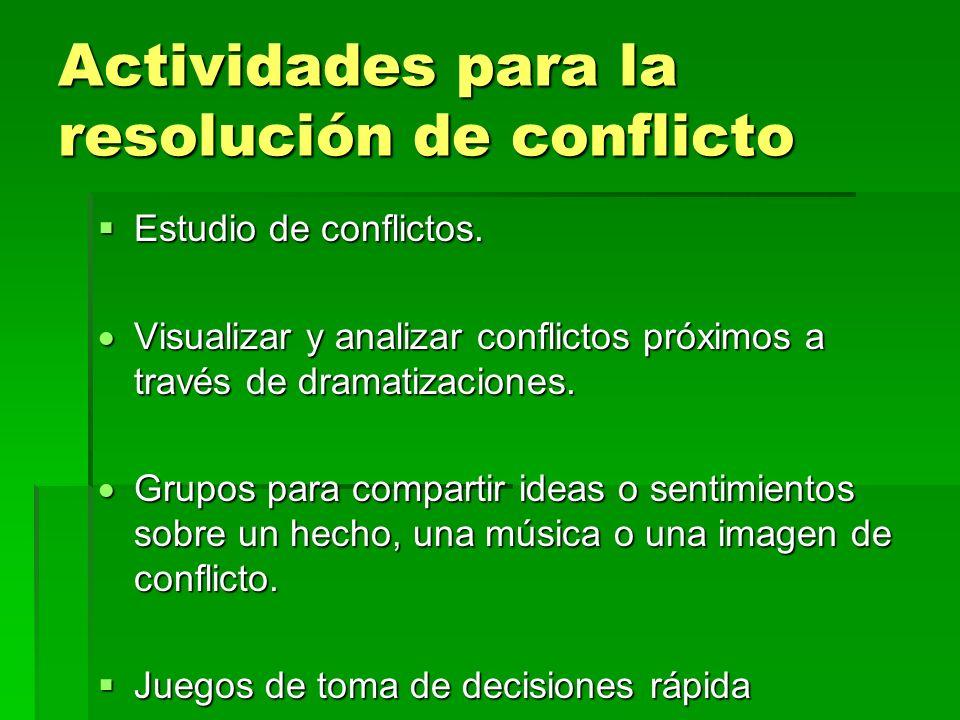 Actividades para la resolución de conflicto