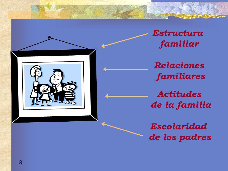 Estructura familiar Relaciones familiares Actitudes de la familia Escolaridad de los padres