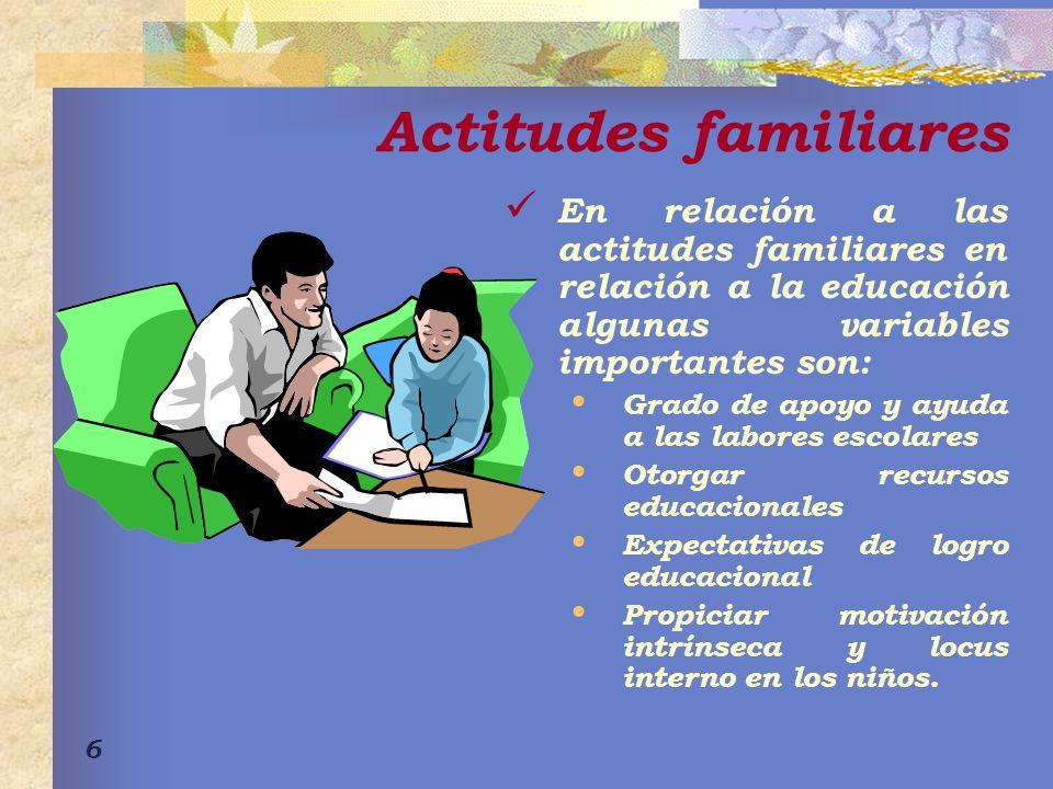 Actitudes familiares En relación a las actitudes familiares en relación a la educación algunas variables importantes son: