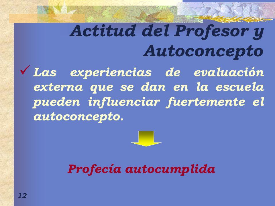Actitud del Profesor y Autoconcepto