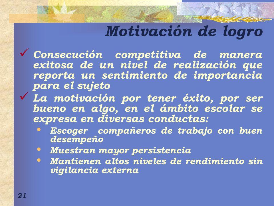 Motivación de logro Consecución competitiva de manera exitosa de un nivel de realización que reporta un sentimiento de importancia para el sujeto.