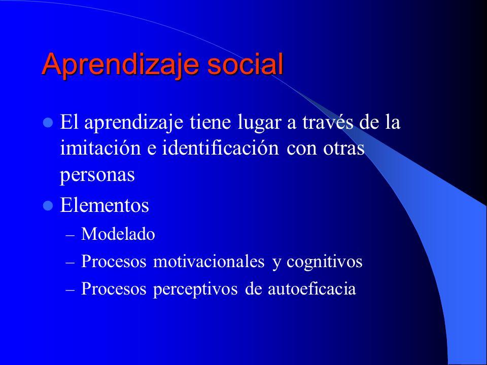Aprendizaje social El aprendizaje tiene lugar a través de la imitación e identificación con otras personas.