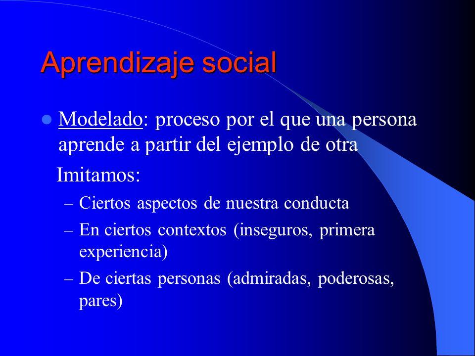 Aprendizaje social Modelado: proceso por el que una persona aprende a partir del ejemplo de otra. Imitamos:
