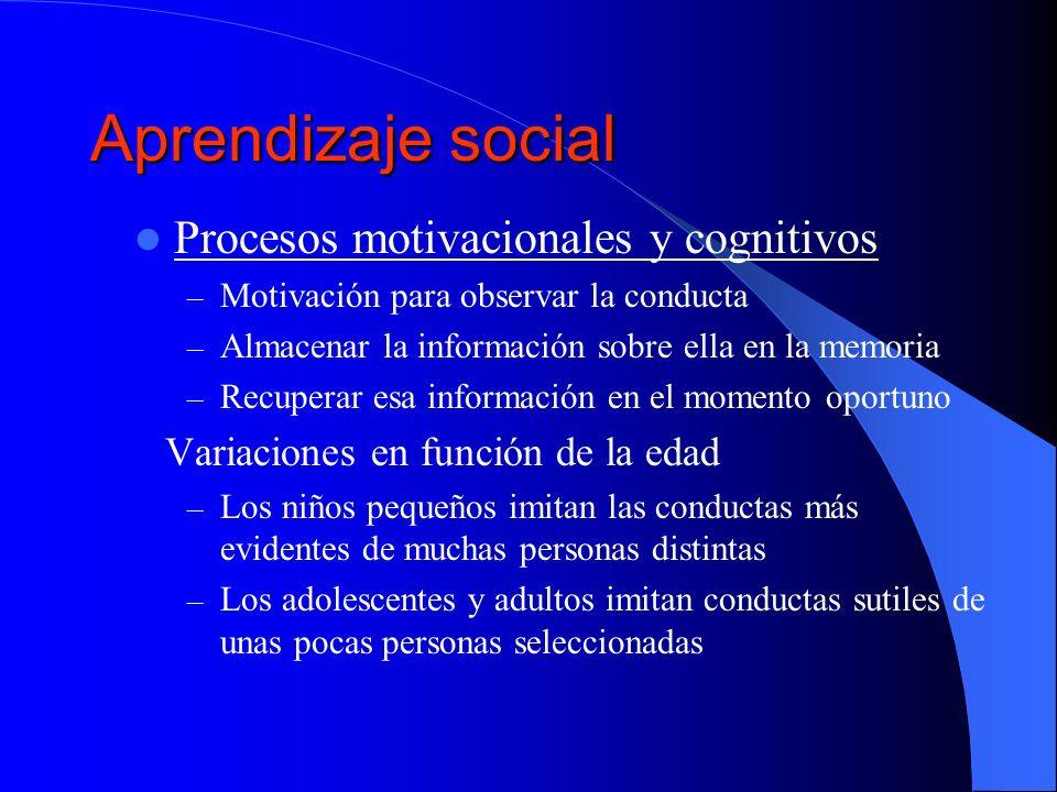 Aprendizaje social Procesos motivacionales y cognitivos