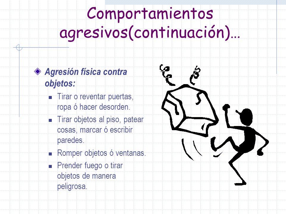 Comportamientos agresivos(continuación)…