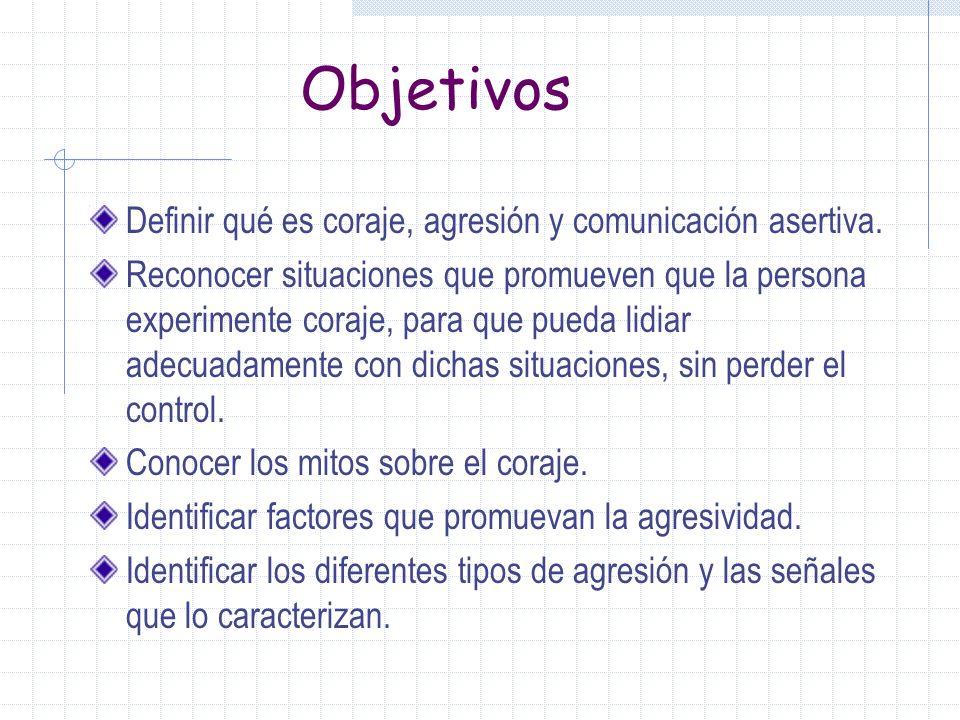 Objetivos Definir qué es coraje, agresión y comunicación asertiva.