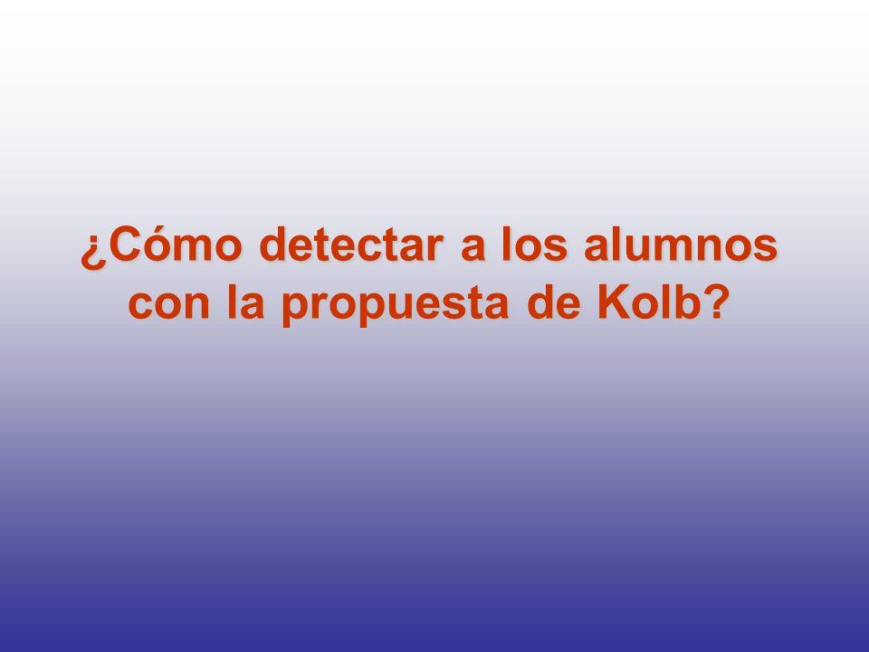 ¿Cómo detectar a los alumnos con la propuesta de Kolb