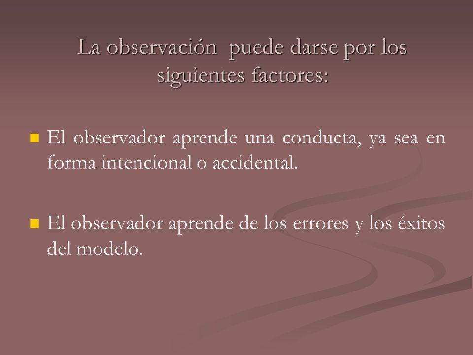 La observación puede darse por los siguientes factores: