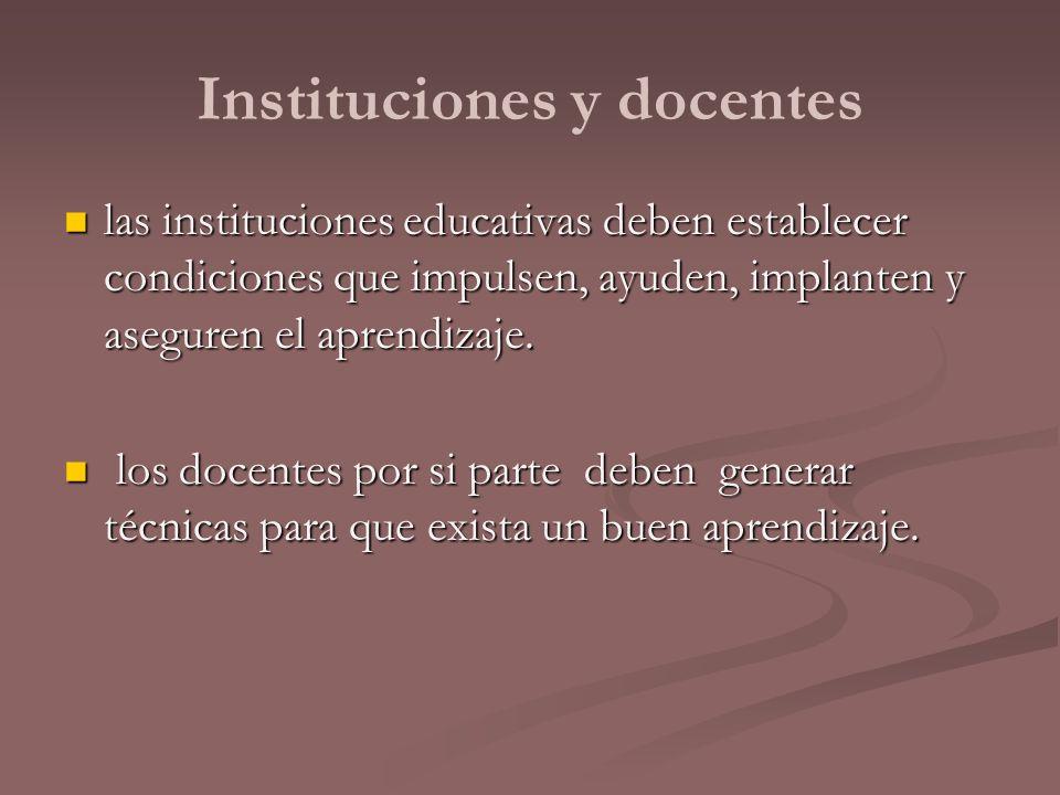 Instituciones y docentes
