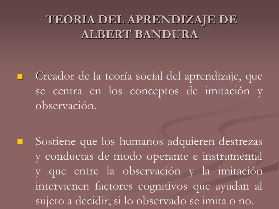 TEORIA DEL APRENDIZAJE DE ALBERT BANDURA