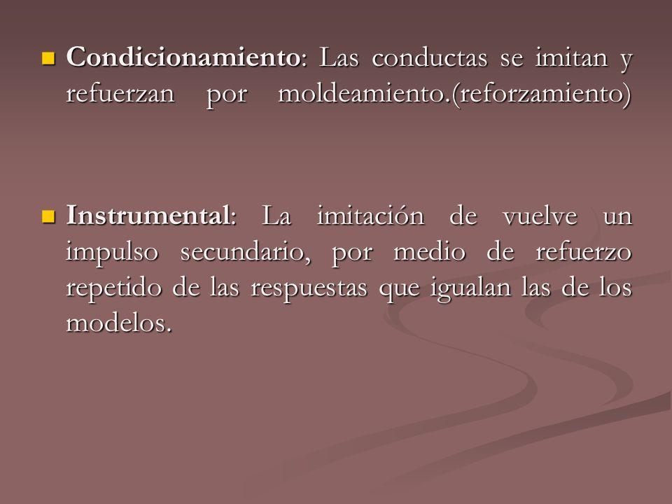 Condicionamiento: Las conductas se imitan y refuerzan por moldeamiento