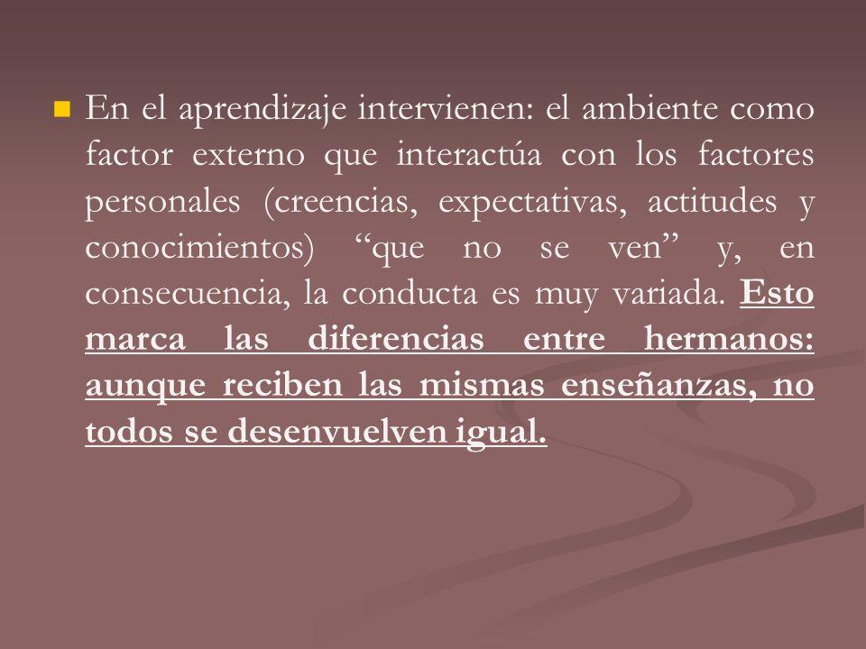En el aprendizaje intervienen: el ambiente como factor externo que interactúa con los factores personales (creencias, expectativas, actitudes y conocimientos) que no se ven y, en consecuencia, la conducta es muy variada.