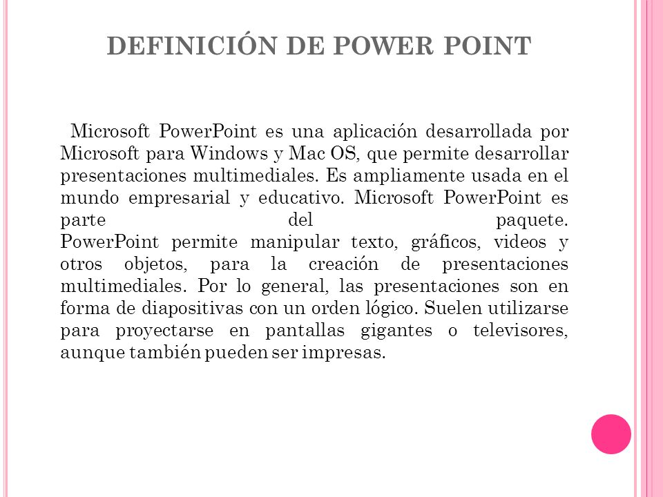 DEFINICIÓN DE POWER POINT